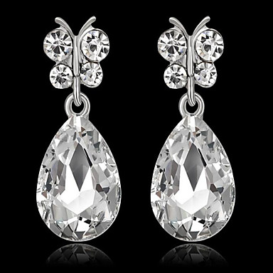 00b641160 Women's Synthetic Sapphire Synthetic Diamond Pear Cut Drop Earrings  Earrings Drop Ladies Fashion Jewelry White / Green / Royal Blue For Party  Birthday Daily