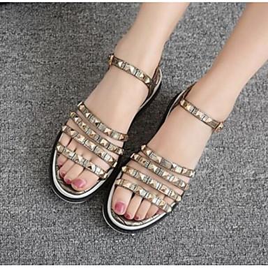 Damen Schuhe PU Sommer Komfort Sandalen für Normal Gold Weiß