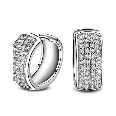 Damen Kreolen Kubikzirkonia Basis Modisch individualisiert Hypoallergen Klassisch Diamantimitate Zirkon Aleación Kreisform Runde Form