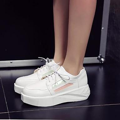 Damen Schuhe PU Frühling Herbst Komfort Flache Schuhe Stöckelabsatz Runde Zehe Für Normal Weiß Schwarz