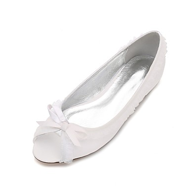 Női Cipő Szatén Tavasz / Nyár Kényelmes / Balerinacipő Esküvői cipők Lapos Köröm Tűzött csipke / Fodrozott / Virág Fehér / Ezüst /