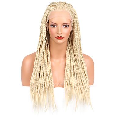 Damen Synthetische Perücken Spitzenfront Lang Kinky-Curly Blonde Geflochtene Perücke Afrikanische Zöpfe Natürlicher Haaransatz Natürliche