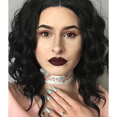 Szintetikus csipke front parókák Hullámos Szintetikus haj Fekete Paróka Női Rövid Csipke eleje Fekete