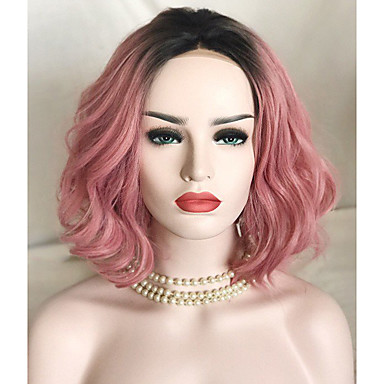 Szintetikus csipke front parókák Laza hullám Ombre haj Pink Női Csipke eleje Természetes paróka Rövid