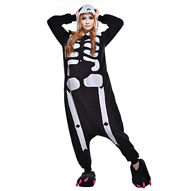 Adults' Kigurumi Pajamas Skeleton Ghost Animal Onesie Pajamas Polar Fleece Synthetic Fiber Black / White Cosplay For Men and Women Animal Sleepwear Cartoon Festival / Holiday Costumes
