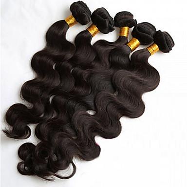 billige Parykker af ægte menneskerhår-5 Bundler Brasiliansk hår Krop Bølge Løst, bølget hår 8A Menneskehår Menneskehår, Bølget 8-26 inch Menneskehår Vævninger Hot Salg Menneskehår Extensions