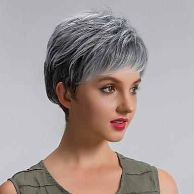 Szintetikus parókák Egyenes Sűrűség Sapka nélküli Női Szürke Természetes paróka Rövid Szintetikus haj
