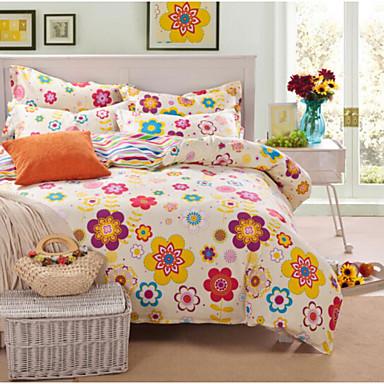 Blume 4 Stück Baumwolle Baumwolle 4-teilig (1 Bettbezug, 1 Bettlaken, 2 Kissenbezüge)