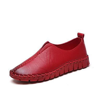 Damen Schuhe PU Frühling Sommer Komfort Leuchtende Sohlen Loafers & Slip-Ons Flacher Absatz Runde Zehe Für Normal Schwarz Rot Hellbraun