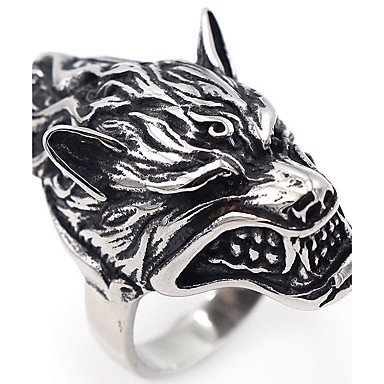 voordelige Heren Ring-Heren Roestvast staal Wolf Punk Gothic Hip-hop Modieuze ringen Sieraden Zilver Voor Halloween Toneel Club 7 / 8 / 9 / 10 / 11