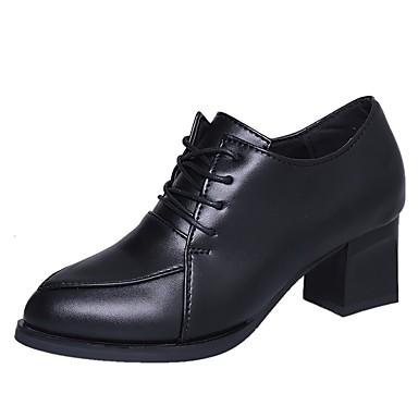 Damen Schuhe PU Herbst Komfort formale Schuhe High Heels Walking Blockabsatz Spitze Zehe Schnürsenkel für Normal Kleid Schwarz Champagner