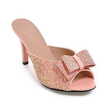 Damen Schuhe Kunstleder Sommer Herbst Komfort Neuheit High Heels Stöckelabsatz Peep Toe Schleife für Normal Kleid Gold Weiß Schwarz