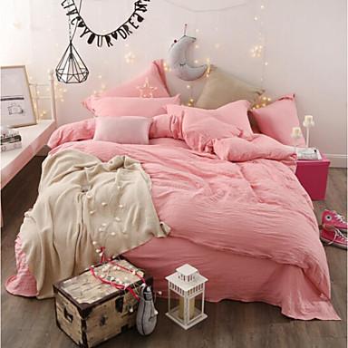 Massiv 4 Stück Baumwolle Baumwolle 1 Stk. Bettdeckenbezug 2 Stk. Kissenbezüge 1 Stk. Betttuch