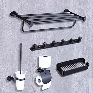 Bad Zubehör-Set Modern / Zeitgenössisch Metal 5 Stück - Hotelbad Toilettenbürstehalter Badezimmer Regal Turm Bar Wandmontage