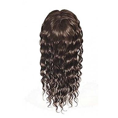 Uniwigs remy Menschenhaar Mono Hairpiece Verschluss Top Haare Stück nasse Welle dunkelbraune Farbe 16 Zoll für Haarausfall (g-2)