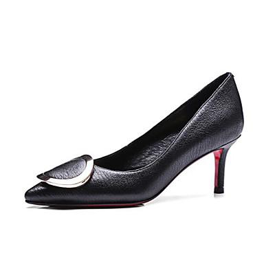 Damen Schuhe Echtes Leder PU Frühling Sommer Komfort Pumps High Heels Für Normal Schwarz Rot Grün