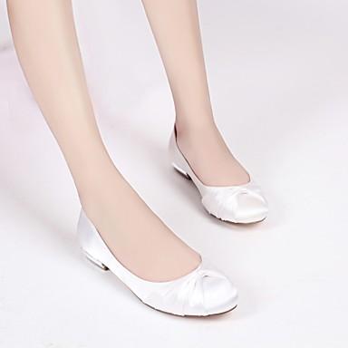 Satin Femme Chaussures Eté Printemps Plat Bout Ruban en Talon de Confort Volants 06074366 Ballerine rond Satin Fleur Chaussures mariage xZSqrxRw