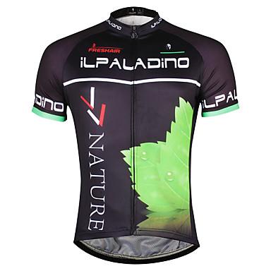 ILPALADINO Men's Short Sleeve Cycling Jersey - Black / Green Bike Jersey, Quick Dry Polyester, Coolmax®
