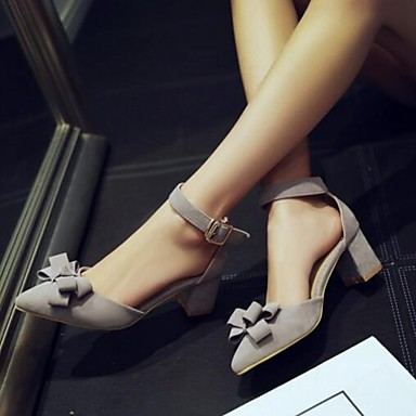 Damen Schuhe Nubukleder PU Sommer Komfort Sandalen Für Normal Schwarz Grau Rosa