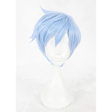 Szintetikus parókák / Jelmez parókák Egyenes Szintetikus haj Faux Locs Paróka Kék Paróka Rövid Sapka nélküli Kék