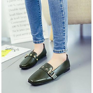 Damen Schuhe Leder / PU Frühling Komfort Loafers & Slip-Ons Schwarz / Grün