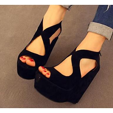 Damen Schuhe Nubukleder Sommer Komfort Sandalen Für Normal Schwarz