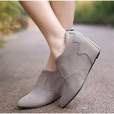 Damen Schuhe PU Nubukleder Frühling Herbst Komfort Stiefel für Normal Grau