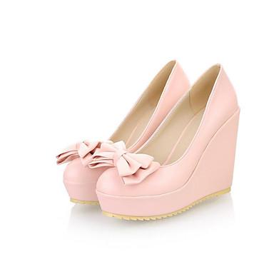 Damen Schuhe Nubukleder PU Frühling Herbst Komfort High Heels Für Normal Beige Blau Leicht Rosa