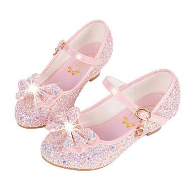 baratos Sapatos de Criança-Para Meninas Micofibra Sintética PU Rasos Little Kids (4-7 anos) / Big Kids (7 anos +) Conforto / Inovador / Sapatos para Daminhas de Honra Lantejoulas / Presilha Branco / Azul / Rosa claro Outono