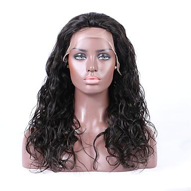 Emberi haj Csipke eleje Paróka Brazil haj Hullámos Természetes hullám 130% Sűrűség 100% kézi csomózású Afro-amerikai paróka Természetes