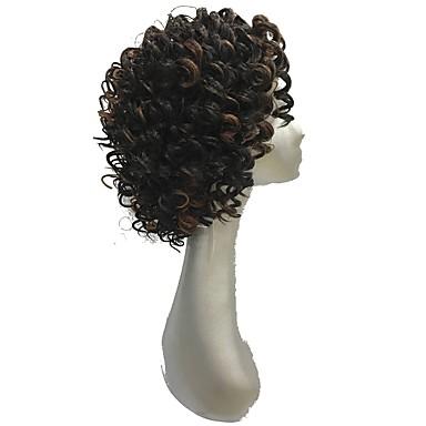 Szintetikus csipke front parókák Göndör Szintetikus haj Afro-amerikai paróka Barna Paróka Női Rövid Természetes paróka Csipke eleje