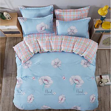 Blumen 4 Stück Baumwolle Baumwolle 1 Stk. Bettdeckenbezug 2 Stk. Kissenbezüge 1 Stk. Betttuch