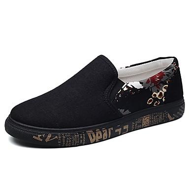 Férfi cipő Szövet Tavasz Ősz Kényelmes Papucsok & Balerinacipők mert Hétköznapi Fekete és arany Kék Fekete/fehér