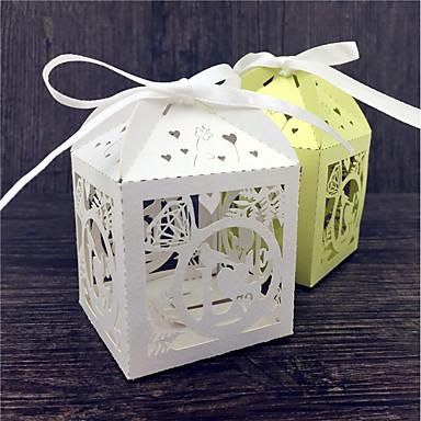 Kocka alakú / köb Gyöngy-papír Favor Holder val vel Szalagok Ajándék dobozok