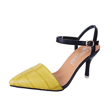 Women's Shoes PU(Polyurethane) Summer Slingback Sandals Kitten Heel Pointed Toe Buckle Black / Yellow / Red