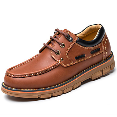 Men's Nappa Leather Spring / Fall Comfort Oxfords Walking Shoes Light Brown / Party & Evening