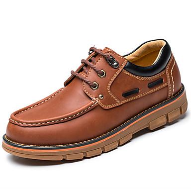 Homens sapatos Pele Napa Primavera / Outono Conforto Oxfords Caminhada Castanho Claro / Festas & Noite