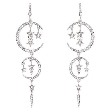 Women's Tassel Drop Earrings - Gold Plated Moon, Star Fashion, Oversized White For Birthday / Valentine