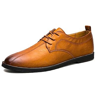 Férfi cipő PU Tavasz Ősz Kényelmes Félcipők Fűző mert Hétköznapi Fekete Barna