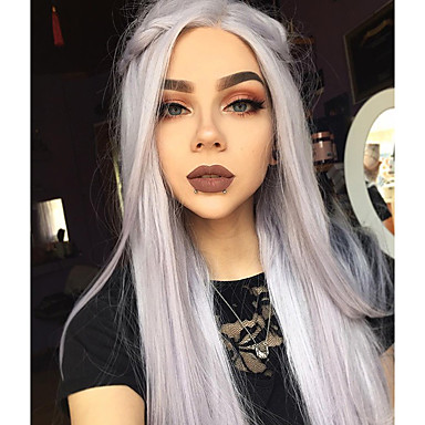 Synthetic Lace Front Wig Straight Synthetic Hair Ombre Hair Gray Wig Women's Long Lace Front