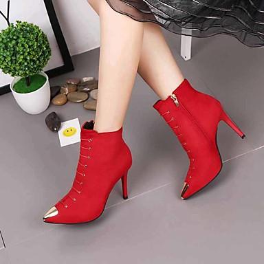 el Botines Tacón Tejido Hasta 06173509 Mujer Botas Verde Stiletto Confort Rojo Zapatos Negro para Otoño Primavera Tobillo 8nwpvfq