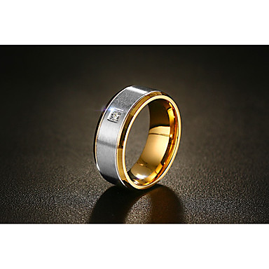 Men's AAA Cubic Zirconia Band Ring - Vintage, Fashion 8 / 10 / 11 / 12 Gold For Wedding Engagement Ceremony