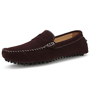 Men's Moccasin Suede Fall / Winter Loafers & Slip-Ons Coffee / Blue / Party & Evening