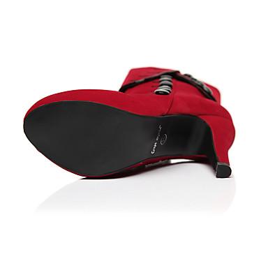 Stiletto Tacón Zapatos Primavera Dedo 06094586 Rojo Confort Mujer Tacones PU Negro redondo Otoño a0xSYw