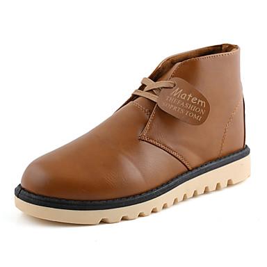 Férfi cipő Bőr Tél Ősz Divatos csizmák Hócipők Kényelmes Csizmák mert Hétköznapi Szabadtéri Fekete Sötétbarna Khakizöld