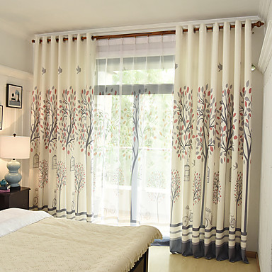 Rod Pocket Grommet Top Tab Top Double Pleat Pencil Pleat Curtain Print Botanical Bedroom Material Curtains Drapes Home Decoration