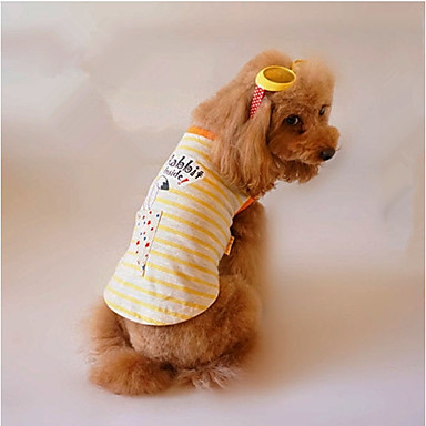 Dog Vest Dog Clothes Stripe Yellow Cotton Costume For Pets Men's / Women's Casual / Daily