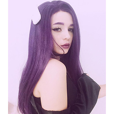 Synthetic Lace Front Wig Straight Synthetic Hair Natural Hairline Purple / Gray Wig Women's Long Lace Front