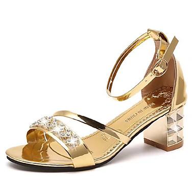 Women's Shoes PU(Polyurethane) Summer Comfort Sandals Walking Shoes Chunky Heel Round Toe Rhinestone Gold / Black
