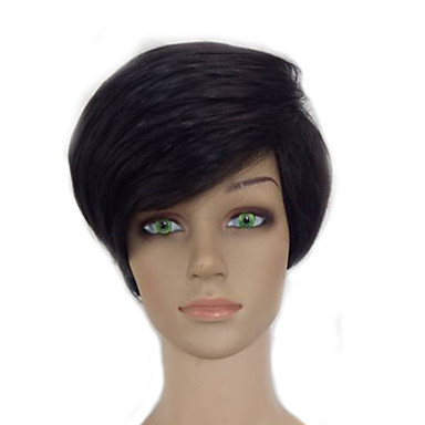 Synthetic Wig Straight / Afro Pixie Cut Synthetic Hair Black Wig Women's Short Capless